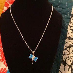 Beautiful dragonfly blue necklace